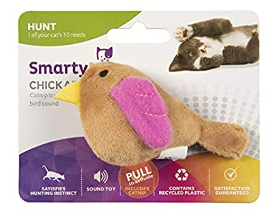 SmartyKat, Chickadee Chirp, Electronic Sound Cat Toy, Soft Plush Chirping Bird, Interactive, With Catnip and Stuffing by World Wise Pooch Planet