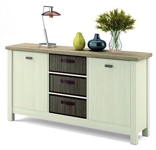 Mueble aparador Artik en Colores Cambrian y Pino con 3 cestas de bambú integradas con 86 cm de Alto, 160 cm de Ancho y 41 cm de Fondo