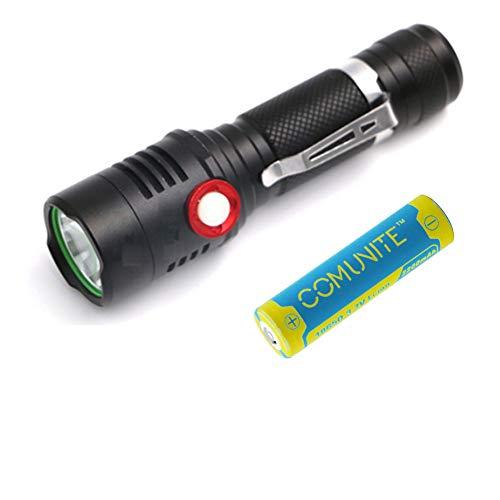Comunite 800 LM CREE XM-L L2 LED EDC Linterna Recargable USB (18650 Pilas Incluidas) Para Camping, Senderismo, Ciclismo, Uso de Emergencia
