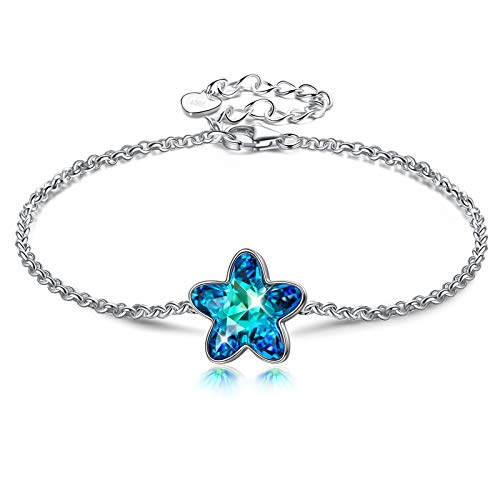 DISSONA 925 Silver Bracelet for Women, Flower Dance, Daisy Blue Crystal Bracelet, Gifts for Her, Crystal from Austria, Jewellery Gift Box