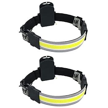 Head Lamp to Wear COB - Light Hardhat Headlight Headlamps for Adults Headlamp Flashlight Head Light Band Head Flashlight Forehead Light LED 220° Wide-Angle for Camping Running Hiking Fishing 2 Pack