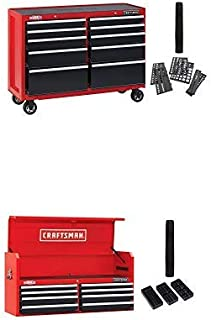 CRAFTSMAN Tool Cabinet with Tool Chest, 52-Inch, 18 Drawer, Combo, Red (CMST82775RB & CMST82774RB)