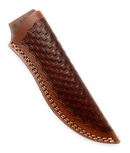 8' long custom handmade leather sheath for fixed blade knife. Top opening 1.5'—1.75' wide.