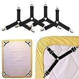 Pinza sujeta sabanas 4 Piezas-Colgador elástico Triangular Ajustable de Tensor, Usado para Clip Fijo para Funda de colchón / Almohada