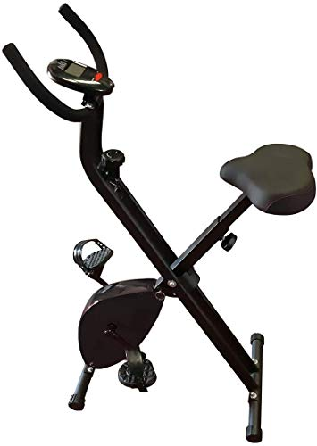 HANKING PLANET Bicicleta estática Plegable, Bicicleta estática Fitness con Niveles de Resistencia, Pantalla info. Velocidad, Distancia, calorias. (Negra)