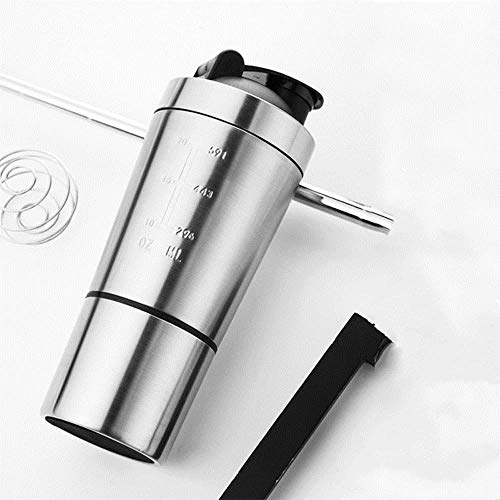 26OZ afneembare weiproteïnepoeder Sports Shaker-fles voor waterflessen Gym Nutrition Blender Cup 304 roestvrijstalen mixer nieuw, zilver
