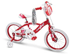 """This Quick Connect kid bike makes assembly fast and easy - follow these 4 Easy steps to get riding in just minutes; insert fork and handlebar - fold pedals down until they click in place - insert seat and adjust 18"""" girls bike with removable training..."""
