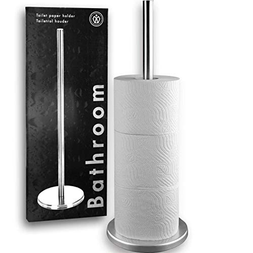 Home & Style Toilet Paper Roll Holder in Colour Box Standing Silver