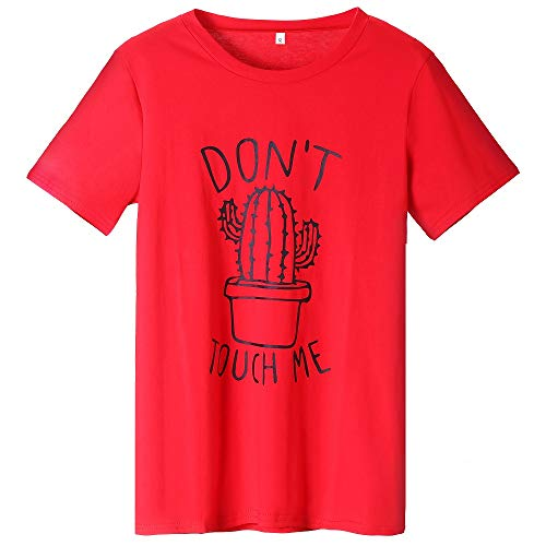 T Shirts for Teen Girls Women Novelty Funny Graphic Tees Cute Girls Tops(Red,M)