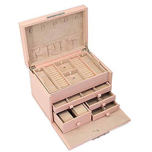 LJJ Caja organizadora multifuncional de piel para joyas, con 4 cajones, para niñas y mujeres, color rosa