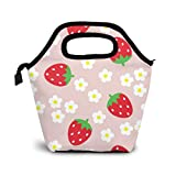 Red Strawberry And Flowers Lunch Box Insulated Meal Bag Lunch Bag With Cartoon Pink Background,Reusable Snack Bag Food Containertote Bag.
