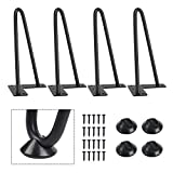 SMARTSTANDARD 8 Inch Heavy Duty Hairpin Furniture Legs, Metal Home DIY Projects for TV Stand, Sofa, Cabinet, etc with Rubber Floor Protectors Black 4PCS
