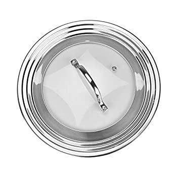 Stainless Steel Universal Lid for Pots Pans and Skillets - Fits 7 In to 12 In Pots and Pans - Replacement Frying Pan Cover and Cast Iron Skillet Lid
