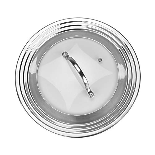 Universal Lid for Pots, Pans and Skillets, Stainless Steel and Tempered Glass, Fits All 7 Inch to 12 Inch Pots and Pans