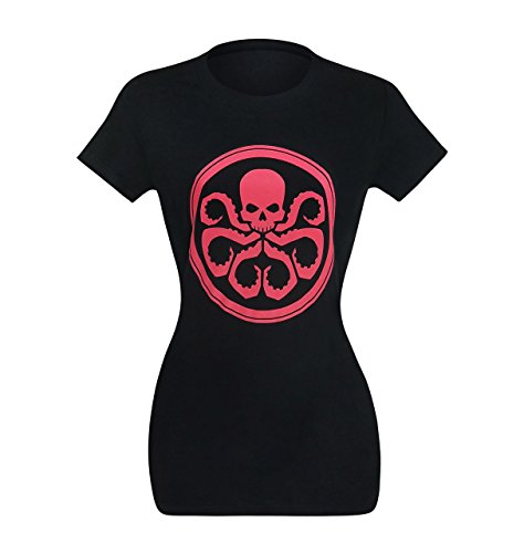 Mighty Fine Camiseta feminina Hydra Symbol On Black, Preto, M