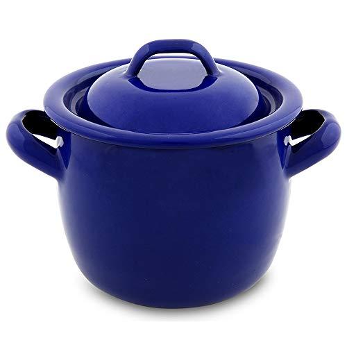 Menax - Pentola/Casseruola da Cucina con Coperchio - Acciaio Vetrificato Smaltato - 12 cm - Modello Marino - Made in Spain