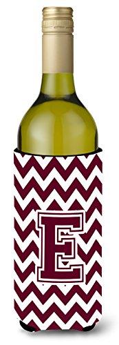 Letra E Chevron Marrón y blanco para botella de vino bebida Insulator Hugger cj1051-eliterk