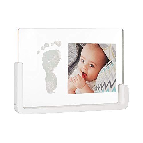 Baby Art My Pure Moment Cadre photo pour empreintes de bébé avec kit d'empreintes, cadre photo avec calque main de bébé, transparent avec base en bois