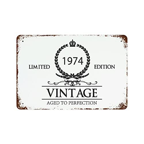 LIFOOST Letrero de estaño 1974 para copa de vino, metal, estilo retro, para café, blanco, 30 x 20 cm