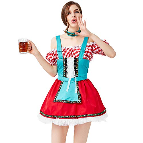 CHIYEEE Duitse Bier Festival Dirndl Kostuum Beierse Traditionele Oktoberfest Jurken Party Maid Cosplay Fancy Jurk met Nek Ring Rood S-XL