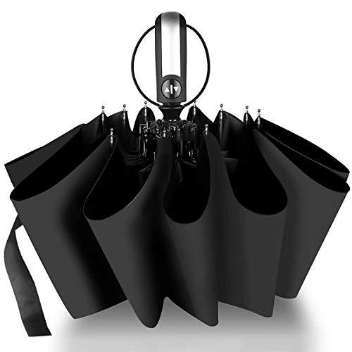 折りたたみ傘、自動開閉 ワンタッチ、頑丈な10本骨 折り畳み傘 耐風 撥水 UVカット 梅雨対策 晴雨兼用 210T高強度グラスファイバー メンズ 収納ポーチ付き
