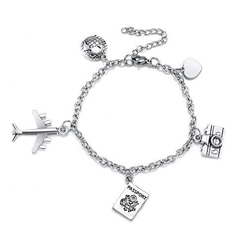 Sunligoo Damen Armband Edelstahl Freundschaftsarmband mit Erde Flugzeug Reisepass Kamera Anhänger Verstellbar Armkette Modeschmuck für Freunde Schwestern Silber