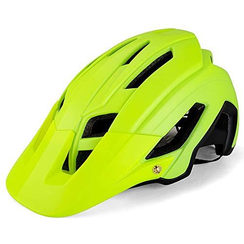 BeiQuan Adulto-Hombres-Mujeres Casco de la Bici - Carretera de montaña Casco de la Bicicleta con Almohadillas de Repuesto y Visera (Color : Green)