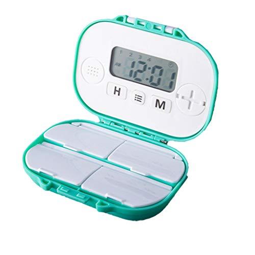Haorw Tablettenbox - Tragbar Pillendose Mit 4 Fächer, Feuchtigkeitsbeständig, Alarm Erinnerungsfunktion