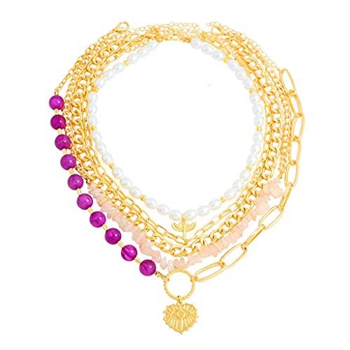 KONZFK collarNueva Bohemia Oro Color Cadenas Multicapa Cuentas de Piedra Natural Retrato Colgante Collar para niñas Boho Collar joyería