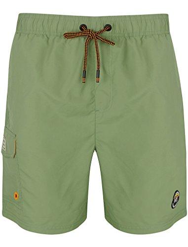 Tokyo Laundry Uomo Cornwallis Sbiadito a Righe Leggero Microfibra Pantaloncini da Nuoto - Verde, M