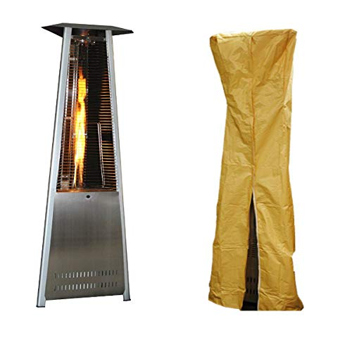 Affordable 23 S Portable Propane Patio Heater, Stainless Steel with Triangle Patio Heater Cover