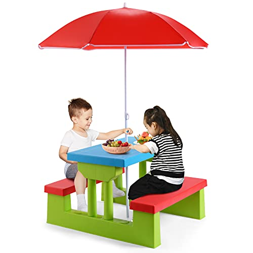Maxmass Kids Picnic Table Set, Indoor Outdoor Toddler Table with Bench & Removable Umbrella, Junior Activity Play Table Set for Garden, Backyard and Lawn