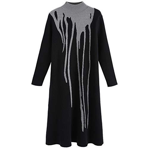 BINGQZ Gebreide jurk vrouwelijke winter lange trui rok over de knieën herfst en winter verdikking rok