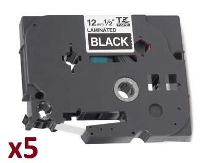 5 x Nastro laminato Compatibile per Brother P-Touch TZ 12mm x 8m TZe-335 TZ-335 Bianco su Nero