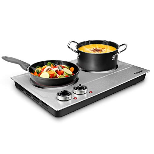 Hot Plate, CUSIMAX 1800W Double Burners, Portable Electric Cooktop, Hot Plate for Cooking, Ceramic...