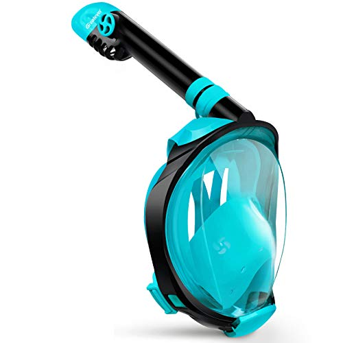 Greatever G2 Full Face Snorkel Mask with Latest Dry Top System,Foldable 180 Degree Panoramic View Snorkeling Mask with Camera Mount,Safe Breathing,Anti-Leak&Anti-Fog,for Kids&Adult