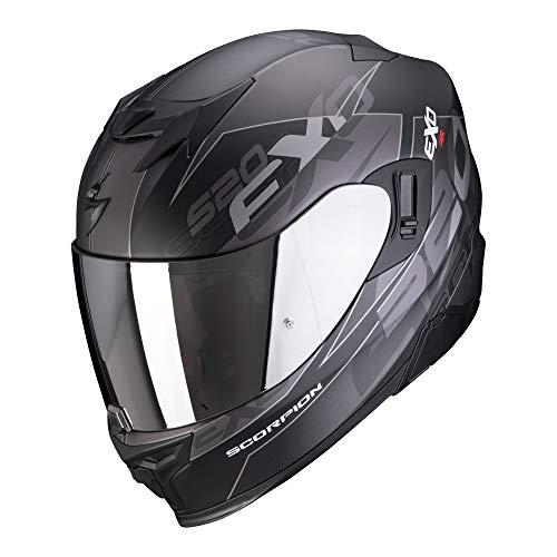 Scorpion EXO -520 Air Cover Matt Schwarz-Silber I Gr. 3XL I Motorradhelm mit Sonnenblende, Pinlock, vorbereitet für Bluetooth Kommunikation XXXL