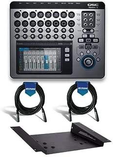 QSC TouchMix-16 Version 3.0 22-Channel Touchscreen Compact Digital Audio Mixer - Bundle With QSC TMR-1 Rack Mount Kit, 2 Pack 20' Heavy Duty 7mm Rubber XLR Microphone Cable