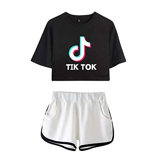 Conjunto de Chandal Gimnasio Verano 2 Piezas Crop Top Camiseta y Pantalon Corta Sportivo T Shirt Manga Corta & Short Traje de Gym Sportwear Tracksuit Sweatsuit Casual C00605TXDK-BKWH-XL