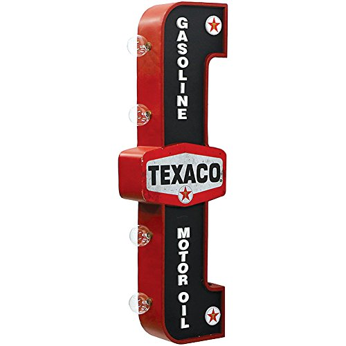 Texaco Gasoline Reproduction Vintage Advertising Sign - Battery Powered LED Lights, Double Sided Metal Wall Mounted - 25 x 8 x 4 inches