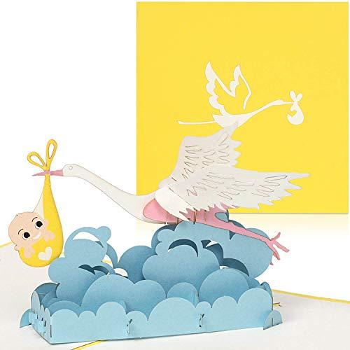 PaperCrush® Pop-Up Karte Baby Geburt (Neutral) - 3D Geburtskarte, Glückwunschkarte zur Geburt von Mädchen oder Junge - Handgemachte Gratulationskarte, Popup Karte mit Klapperstorch