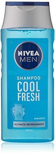 NIVEA MEN Cool Fresh Shampoo 250 ml, champú diario para hombres, cuidado fresco y refrescante del cabello, champú mentol adecuado para cabello normal a graso