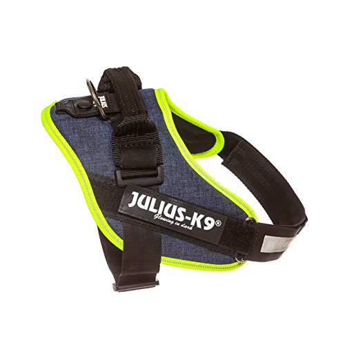 Julius-K9 16IDC-FARNE-0 IDC Powerharness, Dog Harness, Size 0, Jeans with Neon Edge