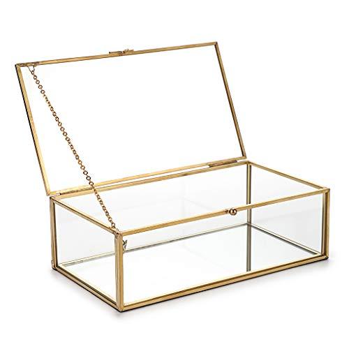 Sumnacon - Scatola rettangolare in vetro con coperchio in stile vintage dorato, per gioielli e braccialetti, per decorare la casa (grande)