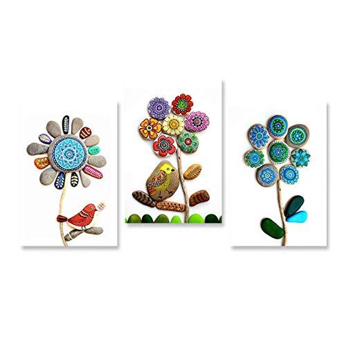 HYY-YY Abstracto Lindo pájaro Flor Piedra Lienzo Pinturas Carteles Impresiones Pared t Cuadro Banksy Cuadro Sala de Estar decoración del hogar 19.6'x 27.5' (50x70cm) x3Sin Marco