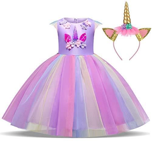 TTYAOVO Ragazze Unicorno Elegante Vestito da Principessa Bambini Fiore Concorso Festa Vestito Senza Maniche Balze Vestiti Taglia 8-9 Anni Viola