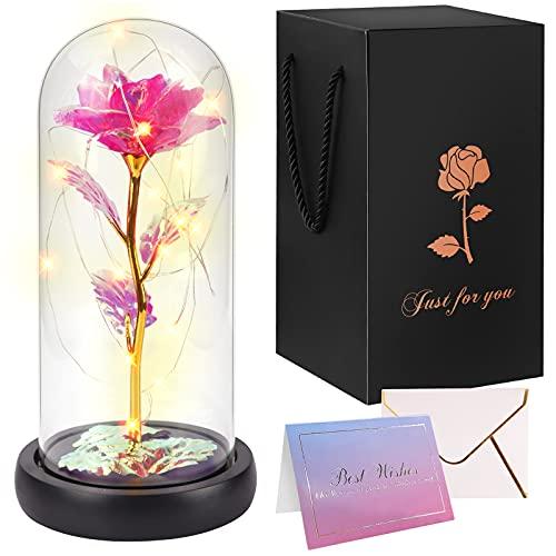 Minterest Rosa Eterna para Día de la Madre Regalo Original,Artificial Oro Flor de Aluminio en Cúpula de Cristal con Tarjeta de Felicitación Ligera LED para Mamá Esposa su Regalo de Boda de Cumpleaños