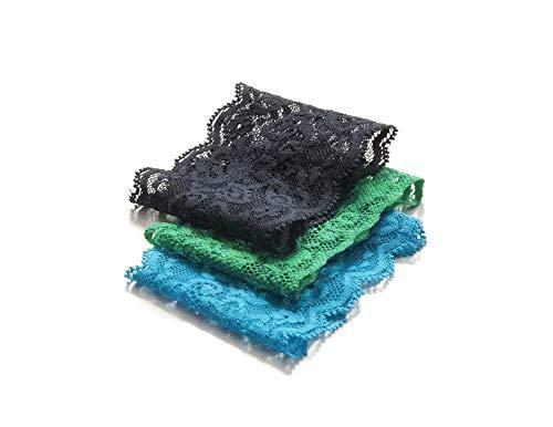 Set of 3- Short Lace Wrist Cuff Stretch Bracelets (Navy/Green/Teal)
