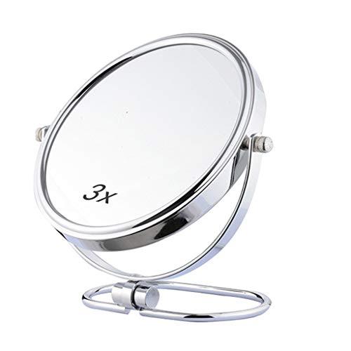 WXF Grossissant Miroir, Table Grossissant X3 7-8-inch Miroir De Maquillage 3X Ou 1x Grossissement Miroir De Table (Edition : 8-inch Mirror (Plane+3X Zoom))