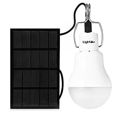 BISOZER Solar Panel Lighting Kit Dusk to Dawn, Solar Powered Led Bulb lights Kits with Solar Panel, 300LM Portable Solar Powered LED Lighting with Light Sensation for Household Outdoor Camping Hiking